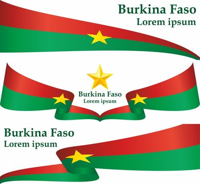 Flag of Burkina Faso, Burkina Faso country in West Africa. Template for award design, an official document with the flag of Burkina Faso. Bright, colorful vector illustration for graphic and web desig