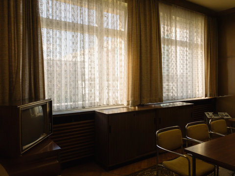 Moody Retro-Styled Office Meeting Room