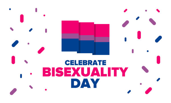 Celebrate Bisexuality Day. Bisexual Pride and Bi Visibility Day. Bisexual flag. Coming out. Celebrated annual in September 23. Festival and parade. Poster, card, banner, template, background. Vector