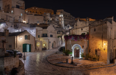 Nightly view of the ancient town of Matera (Sassi di Matera), European Capital of Culture 2019