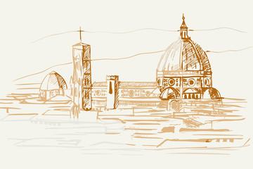 Fototapeta premium Rysynek ręcznie rysowany. Widok na renesasowe zabytki we Florencji we Włoszech