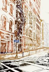 Rysynek ręcznie rysowany. Widok ulicę w Nowym Jorku