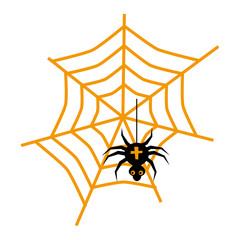 Halloween spider and web flat single icon. Halloween symbol of fear and danger