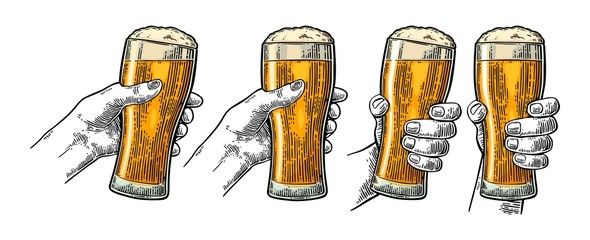 Man and woman hands holding, clinking with beer glass. Engraving