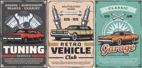 Retro cars tuning service, vintage vehicles