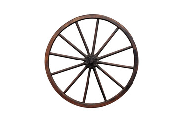 Wooden wheel isolated on the white background