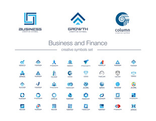 Business and finance creative symbols set. Global banking, stock marketing abstract business logo concept. Growth arrow, success, increase icons. Corporate identity logotypes, company graphic design