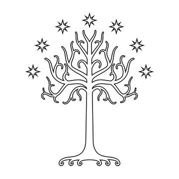 White Tree of Gondor. Isolated black and white eps
