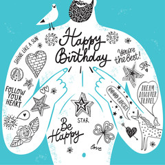 Big male chest with tattoos Birthday greeting card.
