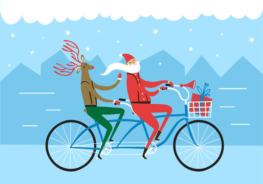 Christmas illustration with Santa and Deer on bicycle riding in city.