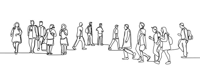 Fototapeta Urban commuters one continuous line drawing minimalism design sketch hand drawn vector illustration. People walking before or after work time on city street. obraz