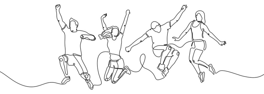 Continuous one line drawing of jumping happy team members vector illustration simple and minimalist design. Group of four people jump and freedom.