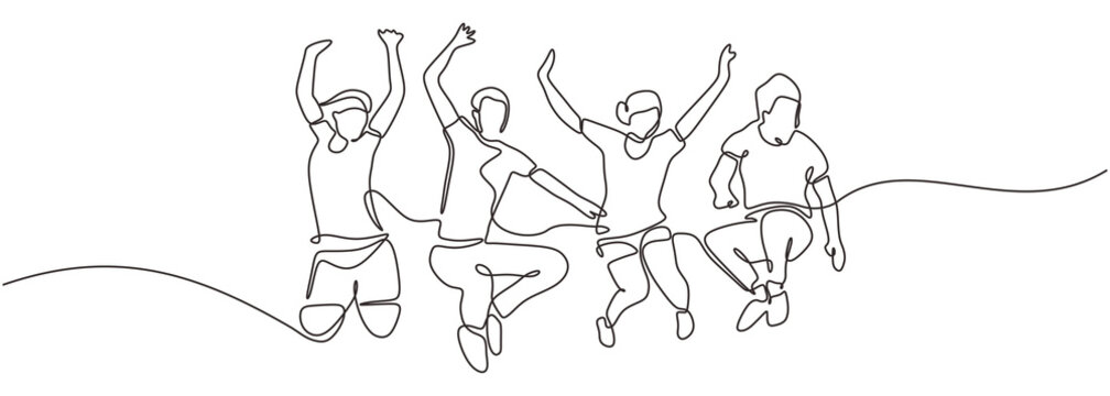 Group of people jump looks happy and enjoying their life continuous one line drawing minimalism design. Vector illustration simplicity conceptual metaphor design.