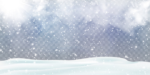 Fotomurales - Falling Christmas snow decoration with snowdrifts, snow-covered hills isolated. Grey shiny poster with winter landscape, wind, blizzard. Winter Holidays Storm Background. Heavy snowfall, snowflakes.
