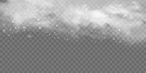Fotomurales - Falling Christmas Shining snow, fog and wind isolated on transparent background. heavy snowfall, snowflakes in different shapes and forms. Winter Holidays Storm with snowflakes flying in the air