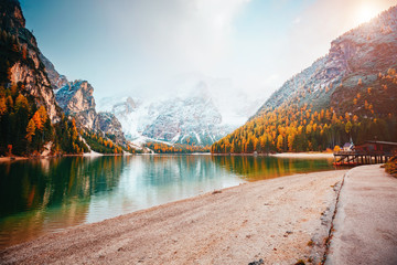 Scenic image of alpine lake Braies (Pragser Wildsee). Location place Dolomiti, national park Fanes-Sennes-Braies, Italy, Europe.