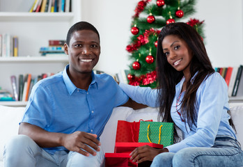 African american love couple celebrating christmas