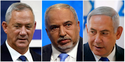 A combination picture shows Blue and White party leader Benny Gantz, Yisrael Beitenu party leader Avigdor Lieberman and Israeli Prime Minister Benjamin Netanyahu