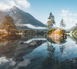 Famous lake Hintersee. Location resort Ramsau, National park Berchtesgadener Land, Upper Bavaria, Germany Alps, Europe.