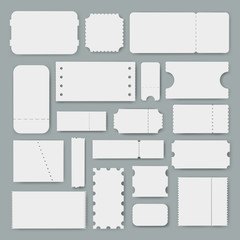 Various blank tickets a vector set, empty mockups for ticket designs, templates of vouchers or coupons an admission to event or service, concert, cinema, party entrance, train ride or airplane flight