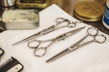 Set of different hairdresser scissors