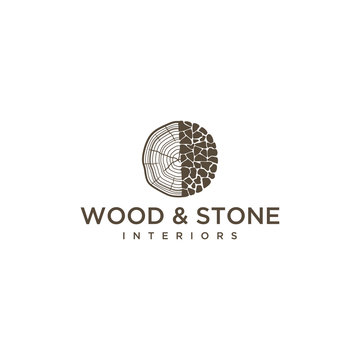 Illustration of signs of pieces of wood combined with stone arrangements to form an abstract wooden trunk.