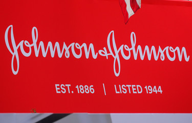 The company logo for Johnson & Johnson is displayed to celebrate the 75th anniversary of the company's listing at the NYSE in New York