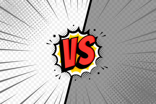 VS two frame template. Versus pop art design on transparent background, comic with lightning ray border for intro of superhero fight and duel. Vector illustration