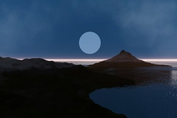 Mountain, a mediterranean landscape, snow on the peak, moon in the sky and reflection in the sea.