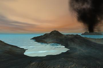 Volcano, a tropical landscape, black smoke and wonderful sea water.