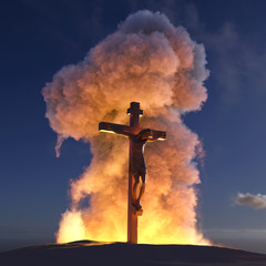 crucifix on the background of the explosion