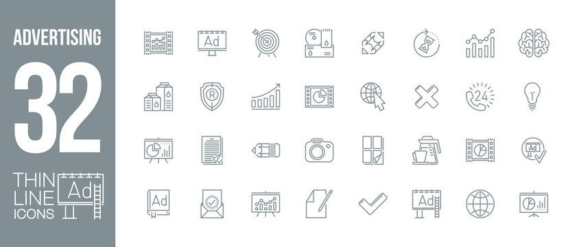 outdoor, commercial and video tv advertising outline flat icons set. Thin line design logo pictogram set advertising agency icons isolated on white. outline logo symbols for web mobile app application