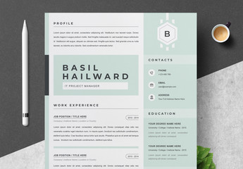 Resume Layout Set with Mint Elements