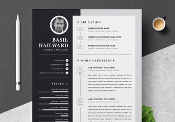 Resume Layout with Black Sidebar