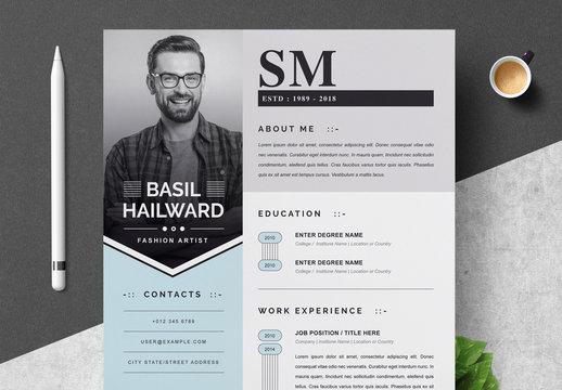 Decorative Resume Layout Set with Blue Elements