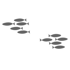 The concept of discord in society. Fight of clans, resentment against friends. Silhouette of a flock of fish swimming on a white background. Coloring on the theme of marine fauna. Vector illustration.