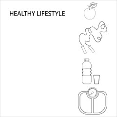 Flat icons vector illustration on the theme of healthy lifestyle for advertising on the website. Infographics on the topic of healthy eating and an active lifestyle for banner screensavers.6