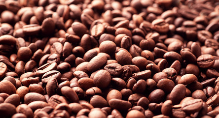 Roasted coffee beans a lot of filling
