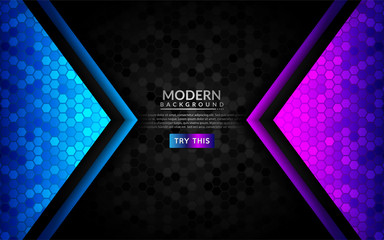 Abstract 3D dark background with purple and blue gradient. Wall mural
