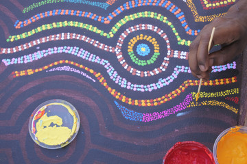 Aboriginal artist dot painting in Derby Kimberley Western Australia