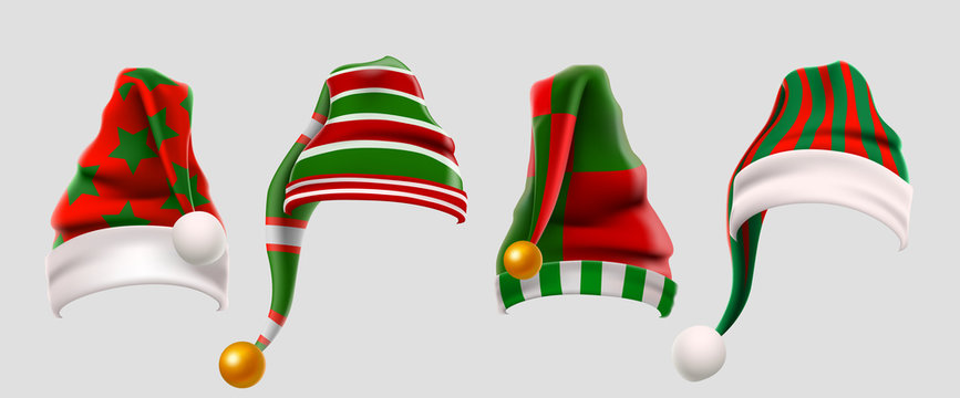 Winter Woolen Elves Hat Christmas Set. Xmas Green and Red Fur Cap Photo Booth Props for Kids. Santa Claus hat. Winter clothes. Christmas 3d realistic vector icon set