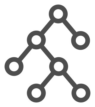 Vector binary tree flat icon. Vector pictogram style is a flat symbol binary tree icon on a white background.