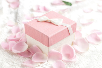 A gift box in a flower petal