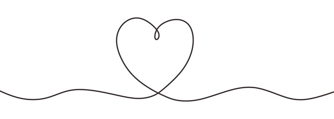 Romantic continuous line drawing of love sign with heart symbol. Vector illustration minimalism design.