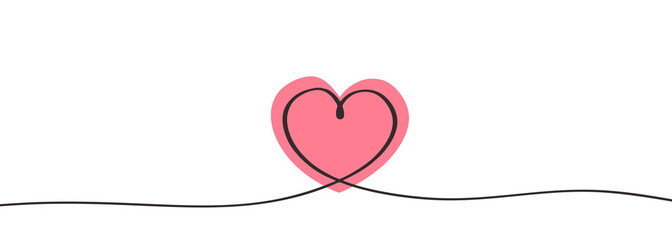 Heart icon continuous one line drawing minimalism concept of love.