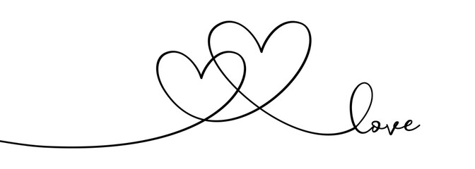 Continuous one line drawing hearts symbol embracing vector illustration minimalism design of love sign. Romantic relationship concept for wedding and Valentine's day card celebration.