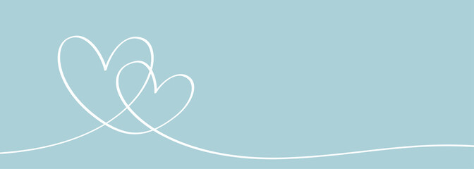 Romantic continuous line drawing of love sign with two hearts embracing symbol. Vector illustration minimalism design on blue pastel color.