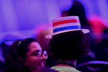 An attendee wears a patriotic hat during the AFL-CIO Workers Presidential Summit in Philadelphia
