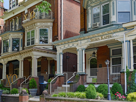 PHILADELPHIA - MAY 2019:  The residential area around the University of Pennsylvania, has many large old houses with large porches used as fraternity and sorority houses.