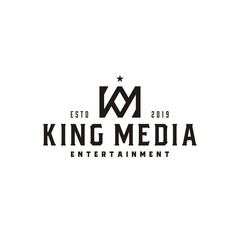 Vintage King Crown letter K and M or KM MK monogram logo design